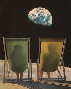 Joe Webb collage / the ladies of tb sheets have a drink on the moon