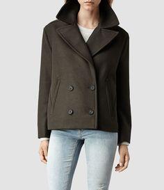 Womens Aya Pea Coat (Khaki) | ALLSAINTS.com