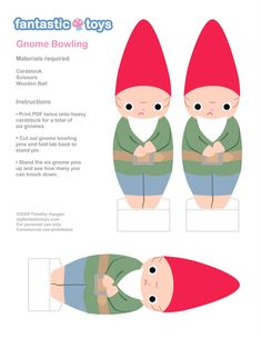 Gnome bowling printable for invader zim party he has gnomes all over his front yard!