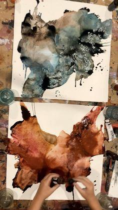 Small Canvas Paintings, Modern Canvas Art, Abstract Watercolor, Watercolor Paintings, Abstract Art, Abstract Painting Techniques, Art Techniques, Linear Art, Koi Art