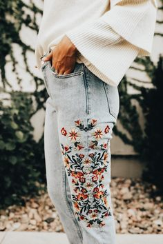 HAVE: Embroidered Jeans, Chunky sweater ADD: Booties