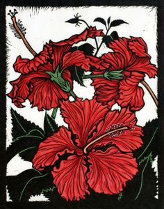 Yann's Red Hibiscus28 x 22 cm Edition of 50Hand coloured linocut on handmade Japanese paperEdition sold out