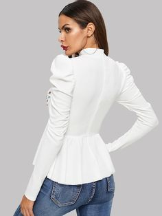 Blusas Floral Blanco Casual-Spanish SheIn(Sheinside)