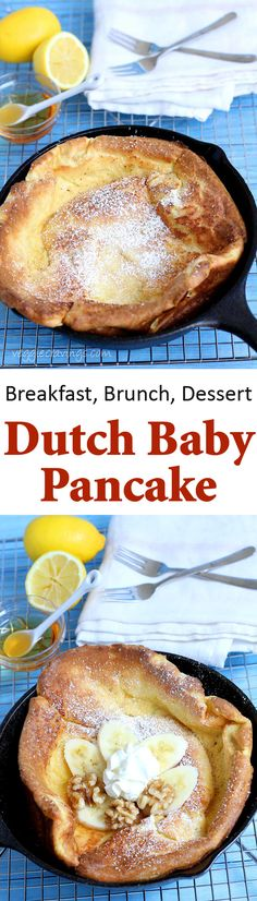 Make this spectacular Dutch Baby Pancake for a special morning breakfast or brunch - a delightful treat that will surely impress. Crepes And Waffles, Baby Pancakes, Pancakes Easy, German Pancakes, Dutch Recipes, Great Recipes, Dutch Baby Pancake, Morning Breakfast, Crockpot Recipes