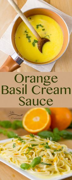 An unforgettable buttery cream sauce with sweet tangy orange and fresh basil. This Orange Basil Cream Sauce works so well with pasta fish or chicken. Itll defiantly be a house favorite. Pasta Recipes, Chicken Recipes, Cooking Recipes, Healthy Recipes, Recipe Pasta, Sauce A La Creme, Coliflower Recipes, Cream Sauce Recipes, Orange Sauce Recipe