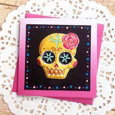 "Gold Sugar Skull Mini-Card, Gift Tag, Day of the Dead, dia de los Muertos, Festival, Folk Art, Cultural, Fuchsia, Bright Colors - 3"" Square by PaperDahlsLLC on Etsy"