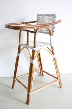Rotan Tafelstoel Kinderstoel Poupon wit