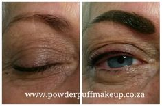 Permanent makeup by www.powderpuffmakeup.co.za. Soft powder eyebrow touch up and fresh top eyeliner. Colour will heal 40% lighter. #powderpuffmakeup #permanentmakeup #capetown #somersetwest  Call Lisl 082 466 2429