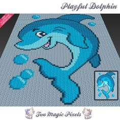 Playful Dolphin is a c2c graph pattern for a crochet baby blanket featuring a dolphin jumping out of the water.  This graph design is 80 squares wide by 100 squares high. It requires 6 colors plus 1 background color.  Pattern PDF includes: - color illustration for reference - color square pattern  Image only, no written counts.  This listing is for a digital pattern only. The PDF file of the pattern will be available for instant download once payment is confirmed. If you have any questions…