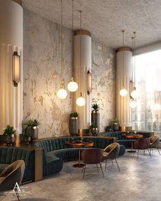 40 ideas art deco restaurant interior banquettes for 2019 Design Hotel, Restaurant Interior Design, Home Interior, Interior Architecture, House Design, Resturant Interior, Interior Logo, Architecture Sketchbook, Color Interior