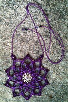 Micro macrame 10 point mandala with amethyst. 4 hours to make. AUD70
