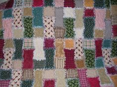 flannel and homespun brick pattern rag quilt    DB