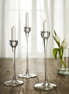 Glass and taper candles