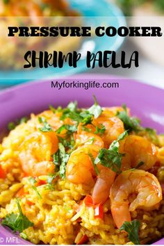 Make this Pressure Cooker Shrimp Paella in your Instant Pot for an easy and quick dinner. With only 5 minutes of pressure cooking time, this recipe is perfect for any night. #pressurecooker #instantpot #instantpotrecipes #pressurecookershrimp #paella