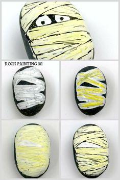 Rock Painting Patterns, Rock Painting Ideas Easy, Rock Painting Designs, Pebble Painting, Pebble Art, Stone Painting, Painting Art, Halloween Rocks, Spooky Halloween