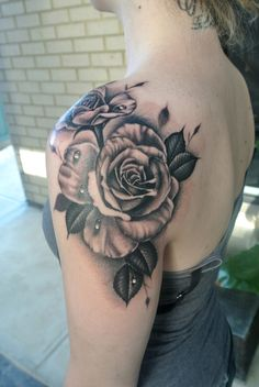 FYeahTattoos.com — Realistic roses shoulder tattoo By Lou Shaw from...