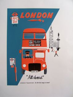 London bus illustration by Clare Phillips, a modern-day artist with a retro mid-century style. London Poster, London Transport, London Travel, Public Transport, London Bus, London Underground, Vintage Travel Posters, Illustrations, Vintage Advertisements