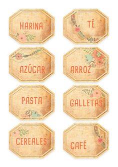 imprimibles gratis etiquetas para comida Printable Labels, Printables, Spice Jar Labels, Framed Burlap, Diy And Crafts, Paper Crafts, Foto Transfer, Diy Sewing Projects, Vintage Labels
