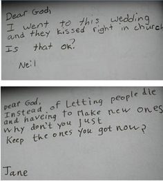 Letter to gods written by kids