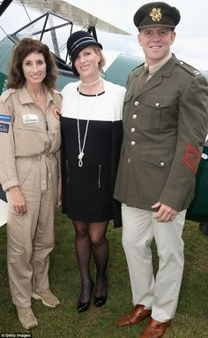 Maternity chic: Zara with husband Mike and pilot Tracey Curtis-Taylor next to the Spirit of Artemis.