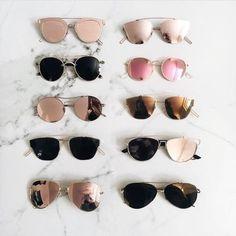 Pinterest: @SammanthaBR  Óculos de sol, espelhado, dourado, preto, rosa, rose gold