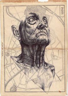 Artist: Mark Powell 'Near misses of nostalgia' Bic biro drawing on map of Paris. Biro Drawing, Painting & Drawing, Illustrations, Illustration Art, Mark Powell, Ballpoint Pen Drawing, Portrait Art, Portraits, Mail Art