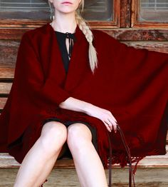 Our Señor Tyrone Classic Burgundy Red Poncho is unisex, one-size-fits-all, easy to wear, and easy to care for. Rock it as a poncho, a cape, a scarf, a wrap or as a serape (for those who aren't in the know, that's a folded scarp worn over the shoulder by men in Mexico--try it, you might like it).