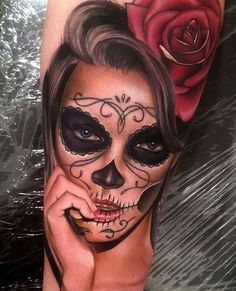115 Santa Muerte Magnificent ideas for the unique tattoo designs Tattoo Girls, Skull Girl Tattoo, Sugar Skull Tattoos, Girl Tattoos, Neue Tattoos, 3d Tattoos, Body Art Tattoos, Sleeve Tattoos, White Tattoos