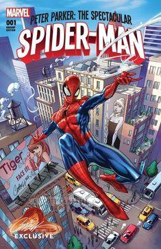 J Scott Campbell Spectacular Spider-Man Comic Book Artists, Comic Books Art, Comic Art, Tom Holland, J Scott Campbell, 3d Chalk Art, Spectacular Spider Man, Tiger Face, Amazing Spiderman