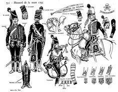 """Hussard de la morte 1793 . From the """"Historex"""" plates"""