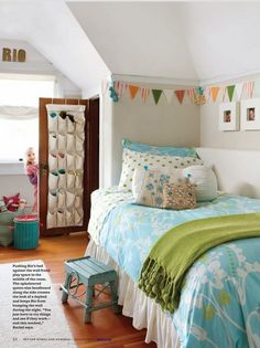 Detail for girls' bedroom.   A high chair rail with white above could give the illusion of an attic room... maybe with a corner.