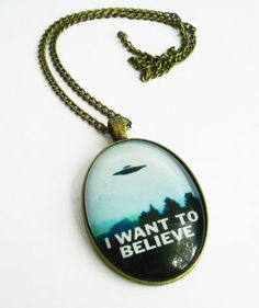 I Want to Believe Sci Fi Necklace XFiles Aliens by landofrapture, $17.00