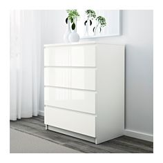 Malm Chest Of 4 Drawers White High Gloss 80 X 100 Cm Bedroom Furnitureikea