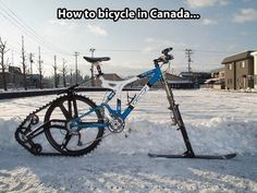 Think it's too snowy to ride your bike? The Ktrak Snowmobile Bike Kit is an extension for any standard bike that makes cruising winter wonderlands on two wheels possible. A rear … Bmx, Mountain Biking, Winter Mountain, Pimp Your Bike, Meanwhile In Canada, Clever Inventions, Velo Vintage, Bike Kit, Bicycle Design