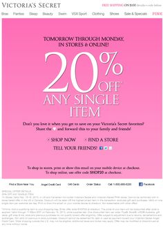 20% off a single item at Victorias Secret, or online via promo code SHOP20 coupon via The Coupons App