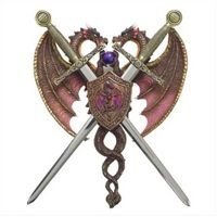 Sword And Dragon Coat Of Arms Display Purple Orb