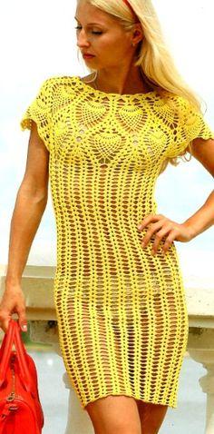 Crochet yellow beach dress ♥️LCD-MRS♥️with diagrams. ---- Вязание ажурного платья крючком