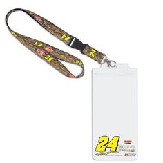 "NASCAR Jeff Gordon Credential Holder Lanyard by WinCraft. $10.95. Jeff Gordon Credential Holder LanyardLobster claw clipOfficially licensed NASCAR productImportedWoven graphicsPlastic sleeve measures 8.5"" x 4.25""Screen print graphicsHangs 20"" in length (including keyring)Hangs 20"" in length (including keyring)Woven graphicsPlastic sleeve measures 8.5"" x 4.25""Screen print graphicsLobster claw clipImportedOfficially licensed NASCAR product"