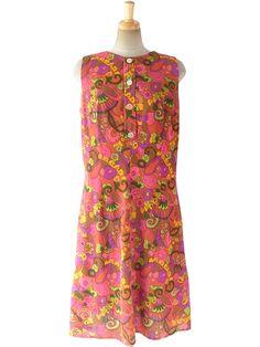 ヨーロッパ古着 ロンドン買い付け 70年代製 オレンジ・ブラウン X カラフル レトロ花柄 ワンピース 16OM902