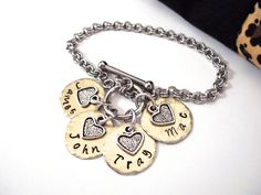 Name Bracelet, Mixed Metals Bracelet, Grandma Jewelry, Mommy Jewelry, Name Keychain, Stainless Steel Bracelet, 1+ discs by CharmAccents on Etsy