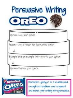 This is a great way to show students how persuasive piece of literature should be written. Students will love the connection between the Oreo and the structure. It will keep students on task and engaged! This connects with NYS ELA Standard 4.W.4 Produce clear and coherent writing in which the development and organization are appropriate to task, purpose, and audience.