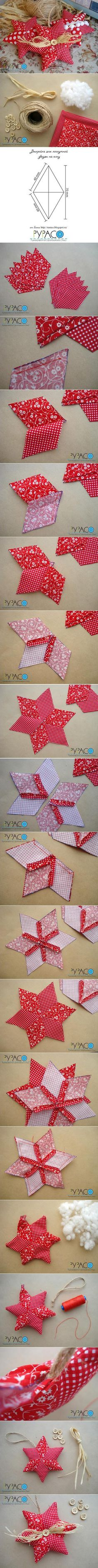 diy little fabric star diy projects - PIPicStats Quilted Ornaments, Handmade Ornaments, Xmas Ornaments, Star Ornament, Christmas Makes, Noel Christmas, Homemade Christmas, Fabric Crafts, Sewing Crafts