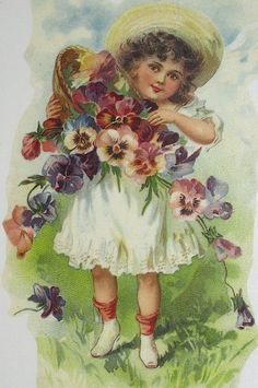 girl with pansies
