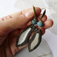 Boucles d'oreille raku Atlantide céramique