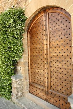 Large front door. Wood and iron