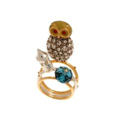 Les Nereides - Sparkly owl and castle triple ring Love Persimmon