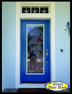 Etched dolphin and turtle swimming. Single front door with the etched glass custom made.  http://glassdoorstampa.com/etched-or-sandblasted-glass-doors/