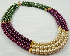 Layered Pearl Necklace Layered Necklaces for women Layered Layered Pearl Necklace, Pearl Statement Necklace, Necklace Box, Beaded Necklace, Beaded Bracelets, Pearl Necklaces, India Jewelry, Bead Jewellery, Pearl Jewelry