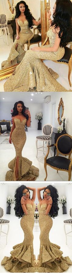 Luxurious Mermaid Long Straps Gold Sequins Prom Dress with Side Slit G341#prom #promdress #promdresses #longpromdress #2018newfashion #newstyle #promgown #promgowns #formaldress #eveningdress #eveninggown #2018newpromdress #partydress #meetbeauty #mermaid #gold #sequin #straps #sideslit