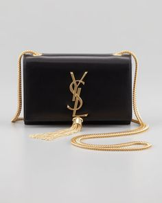 Saint Laurent Cassandre Small Tassel Crossbody Bag, Black - Bergdorf Goodman - gold handbags, leather handbags for cheap, cheap handbags and purses Hermes Handbags, Burberry Handbags, Purses And Handbags, Sac Yves Saint Laurent, St Laurent Bag, Dior, Louis Vuitton, Black Cross Body Bag, Beautiful Bags